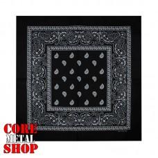 Бандана классическая, цвет черный с белым рисунком