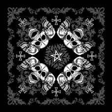 Бандана Коловорот Пентаграмма с черепами чёрная