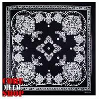 Бандана классическая, черная с белым орнаментом.