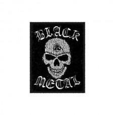 Нашивка вышитая Black Metal череп