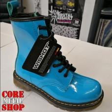 Ботинки голубые, глянец